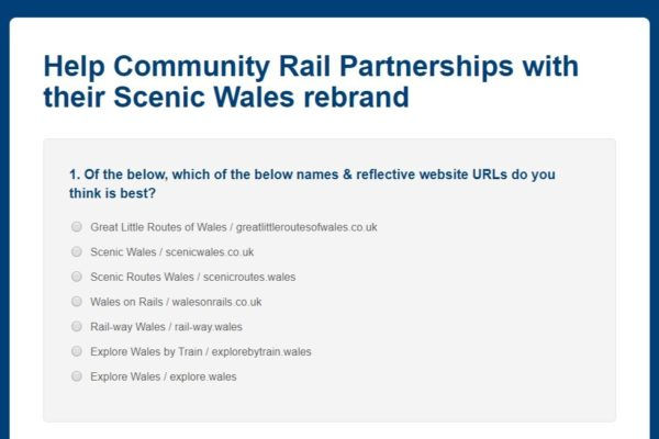 Survey Help Community Rail Partnerships website rebrand